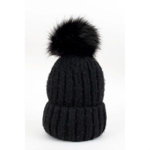 Knit Pom Hat-BLACK